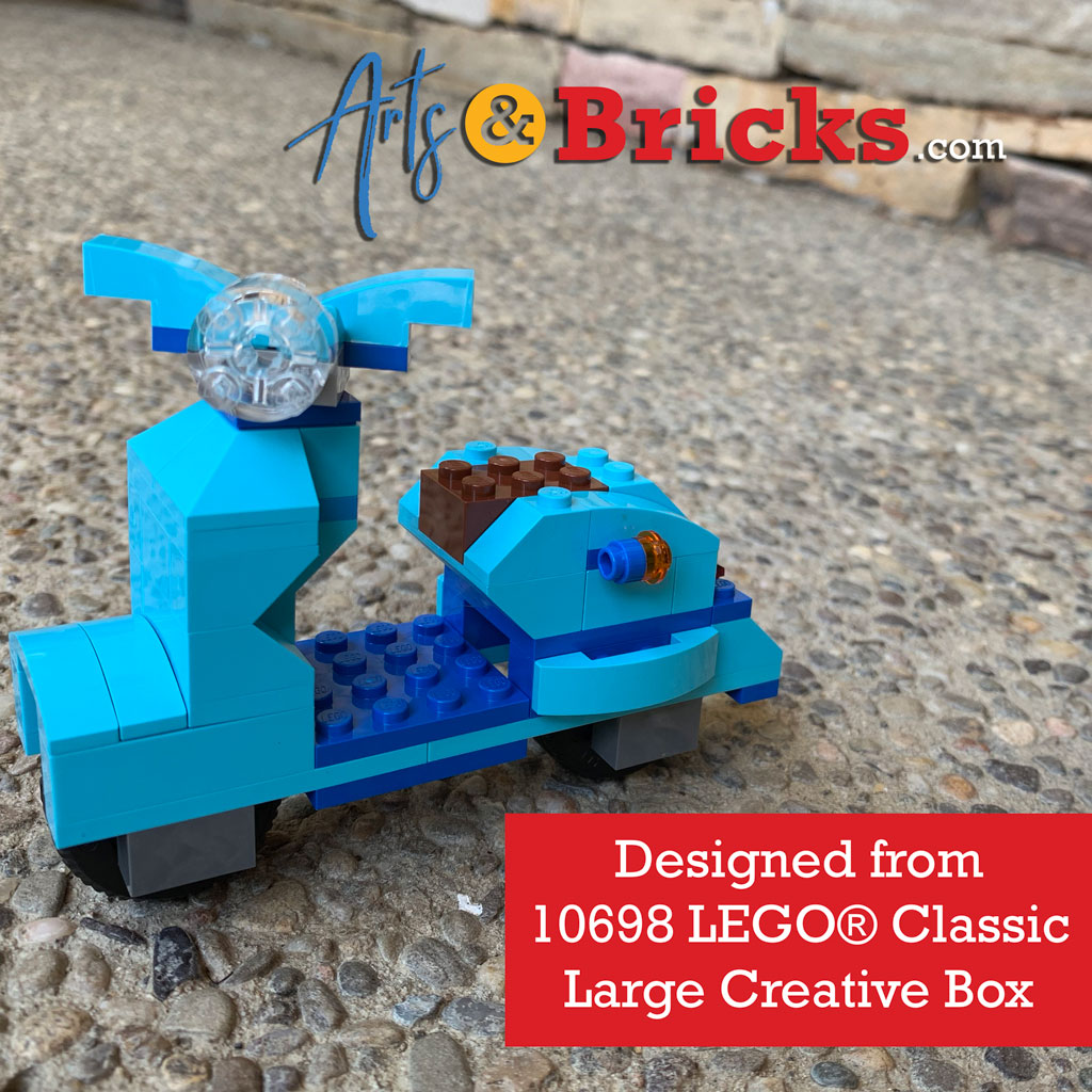 Learn to make your own blue moped or blue vespa with the bricks found in 10698 LEGO Classic Large Creative Box. It's so cute - especially for new fans of Luca (the sea monster Disney movie)!