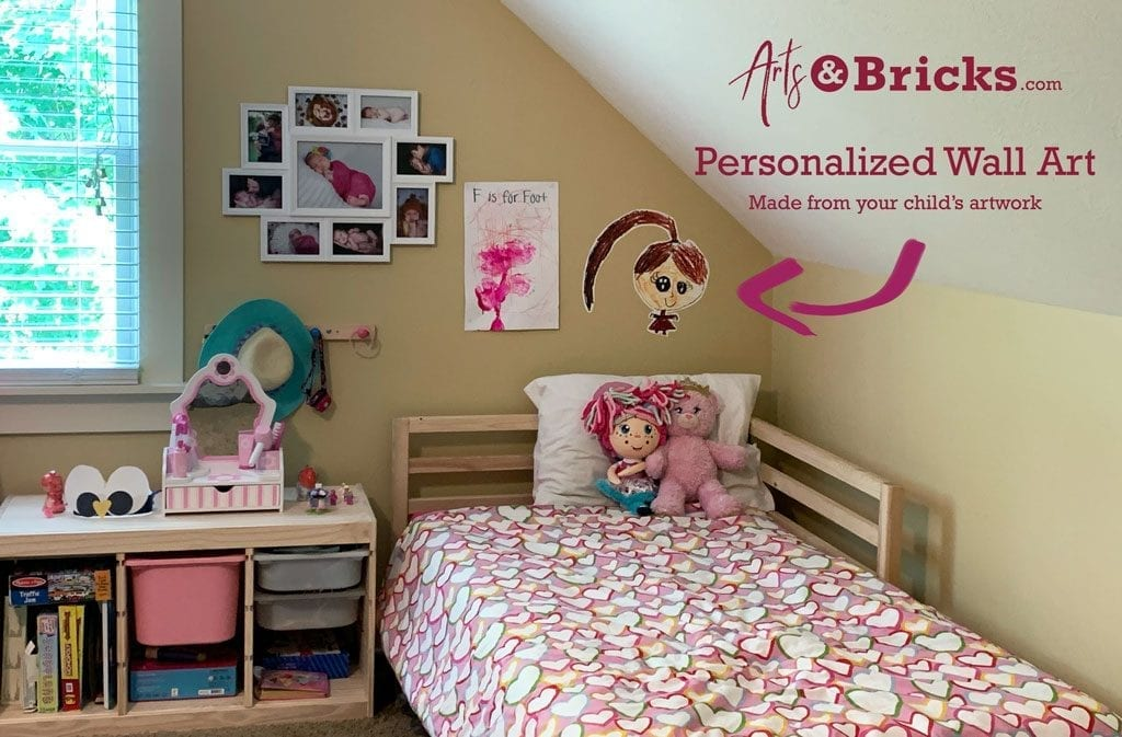 Decorate your child's room with a personalized kid-drawn portrait. We make custom wall vinyl and stickers created from artwork and brick-built creations.