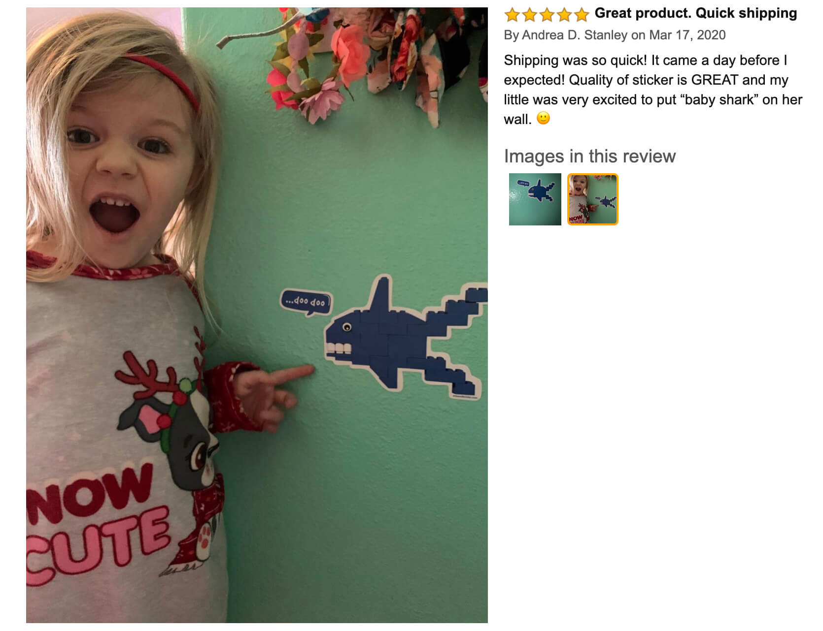 "Arts and Bricks's Brick-Built Shark Wall Sticker review on Amazon: ""Quality of sticker is GREAT and my little was very excited to put ""baby shark"" on her wall!"" #legoroom #legodecor #babyshark #legoshark #artsandbricks"