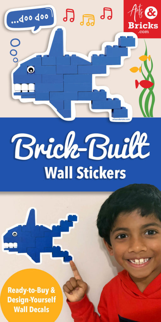 Want to keep your LEGO-built sharks on display longer than the next time you need to use that one blue-angled piece?   Solution: Snap a photo and order an Arts and Bricks Design Your Own wall decal. Perfect for a favorite shark build or an entire shark family! Get creative: personalize your kid's space with custom-made, repositionable wall decals.  Just want a shark decal? Order our cute shark wall decal shown below.