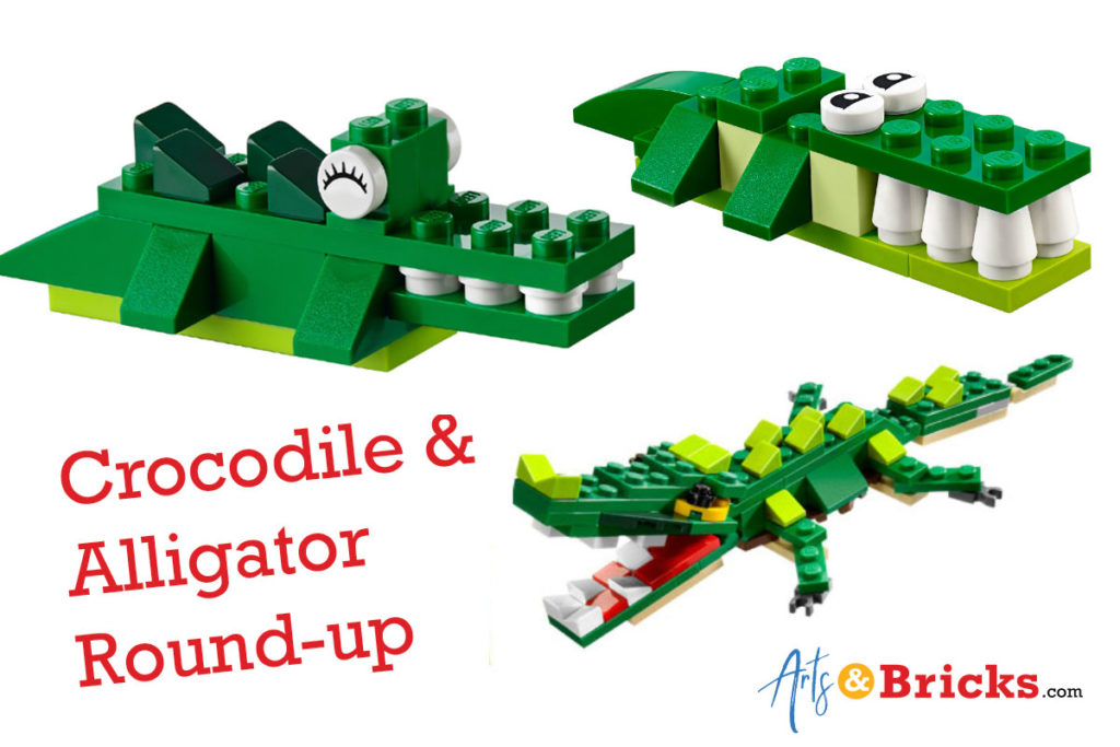 3 green crocodile designs made out of legos - specifically lego sets