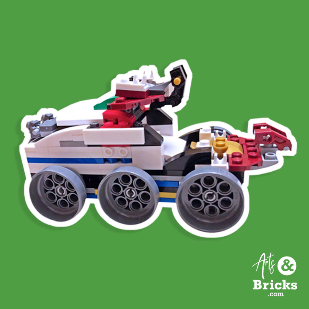 Example of custom-made wall sticker created from kid's brick space rover design.