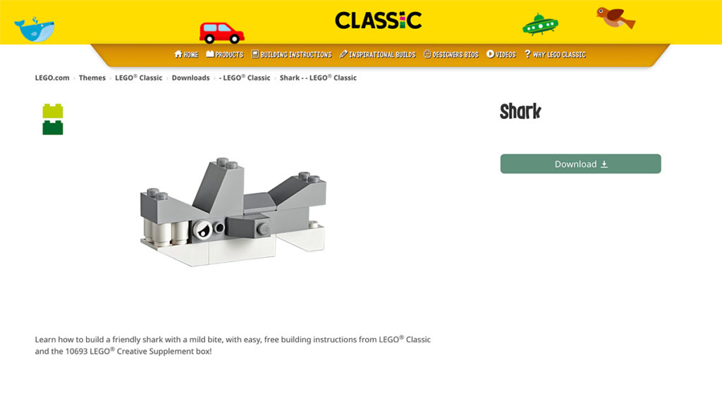 Lego Shark made from Classic Lego Kit