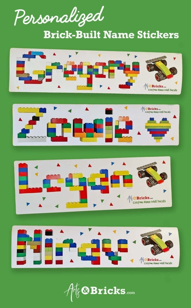 Lego built wall stickers - personalized with names