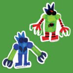 Set of 2 Kid-Drawn Robot Wall Stickers - Wall Decor