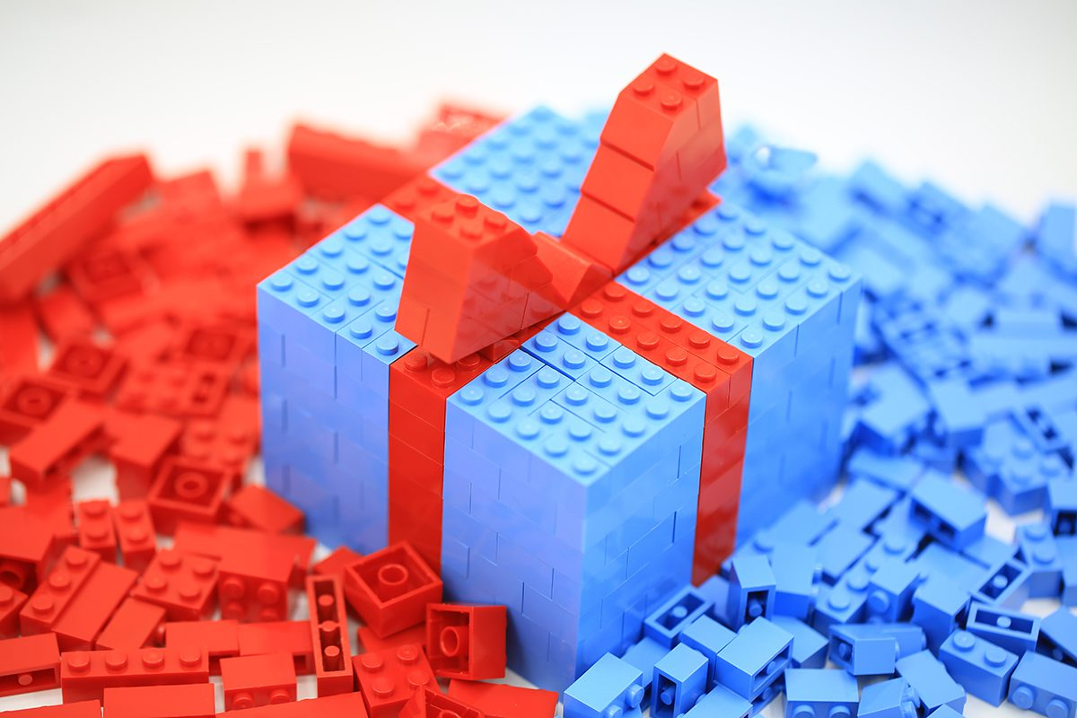 gift box built from Lego bricks - lego gift ideas