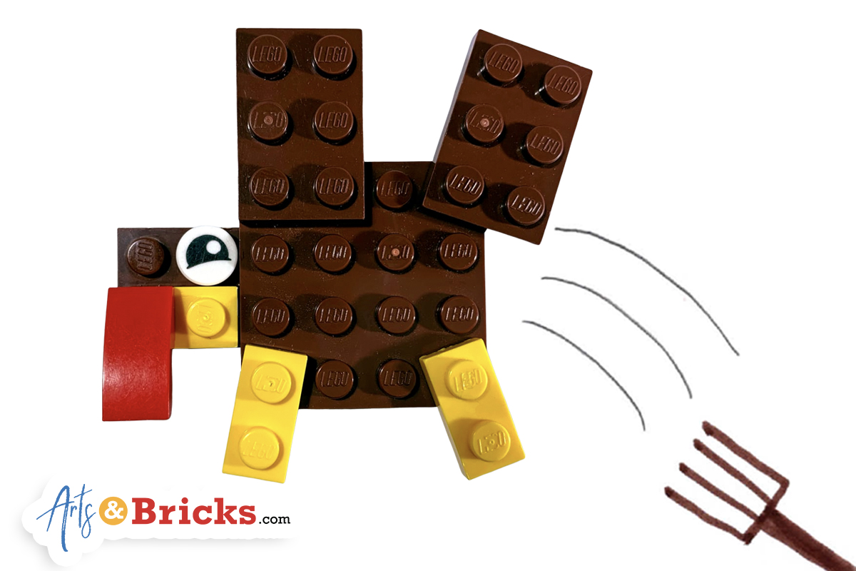 How to build a Thanksgiving turkey out of LEGO bricks
