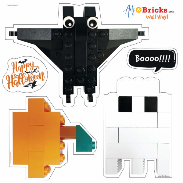 Halloween themed wall stickers, wall decals designed from LEGO bricks
