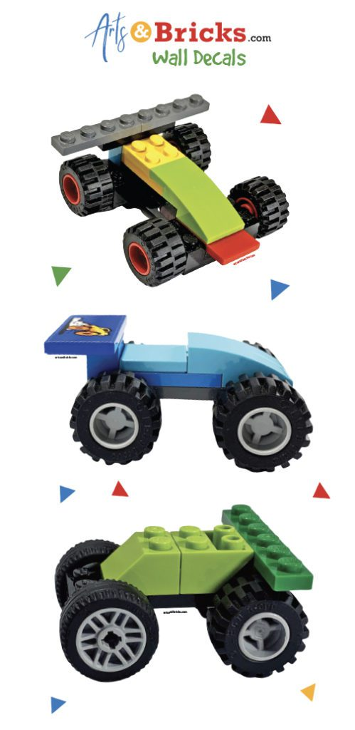 LEGO built race cars for room decor - wall stickers for kids