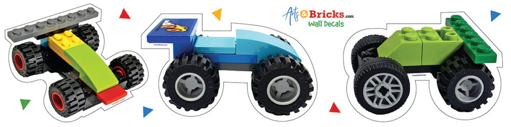 brick-built race cars - kids wall decor