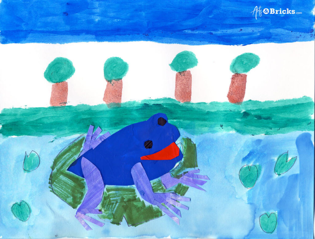 This kid-friendly collage art project features a watercolor background and a cut-paper frog in the foreground.