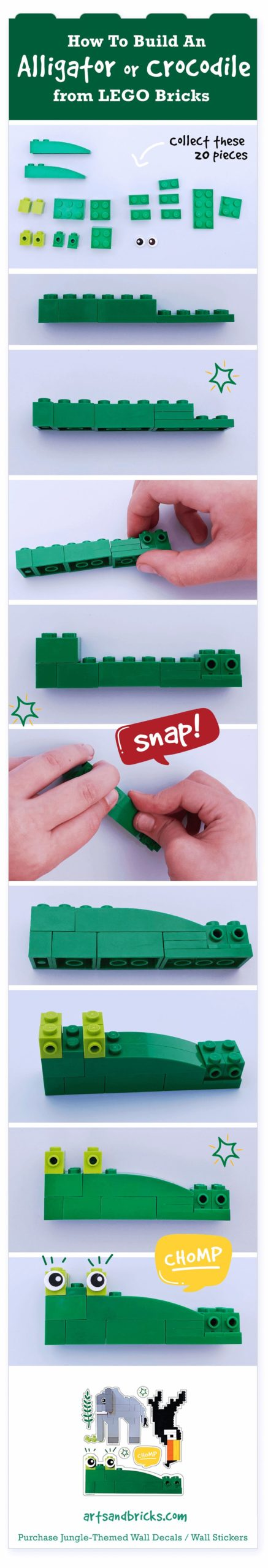 How to build an alligator or crocodile from Lego bricks, building instructions