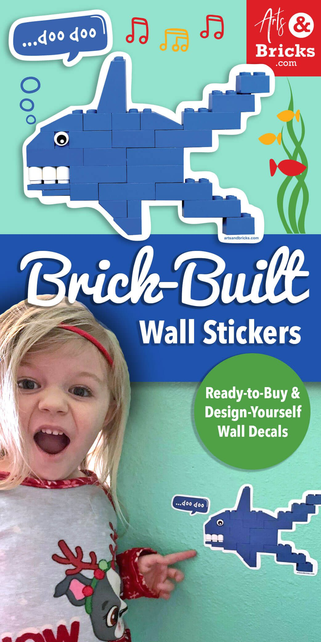 Sharks! What kid doesn't love them? But, how do you build a shark out of bricks? Here are a few inspirations and guides. Purchase Brick-built wall stickers / wall decals, even a a blue brick-built shark wall decal for kids room decor.