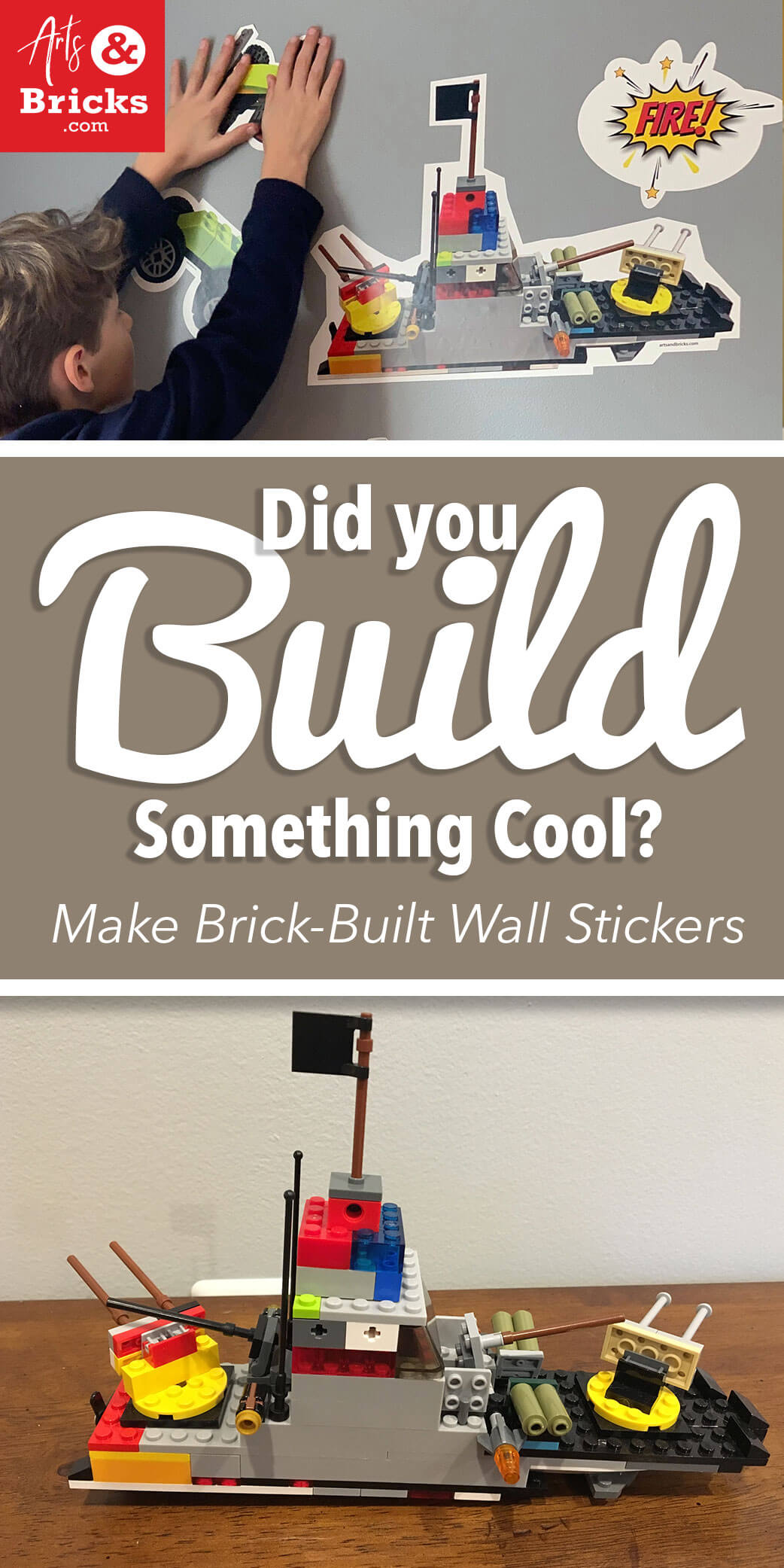 Did you build something cool with LEGO bricks? Turn them into kids wall decor with Arts and Bricks's design-it-yourself brick-built wall stickers.