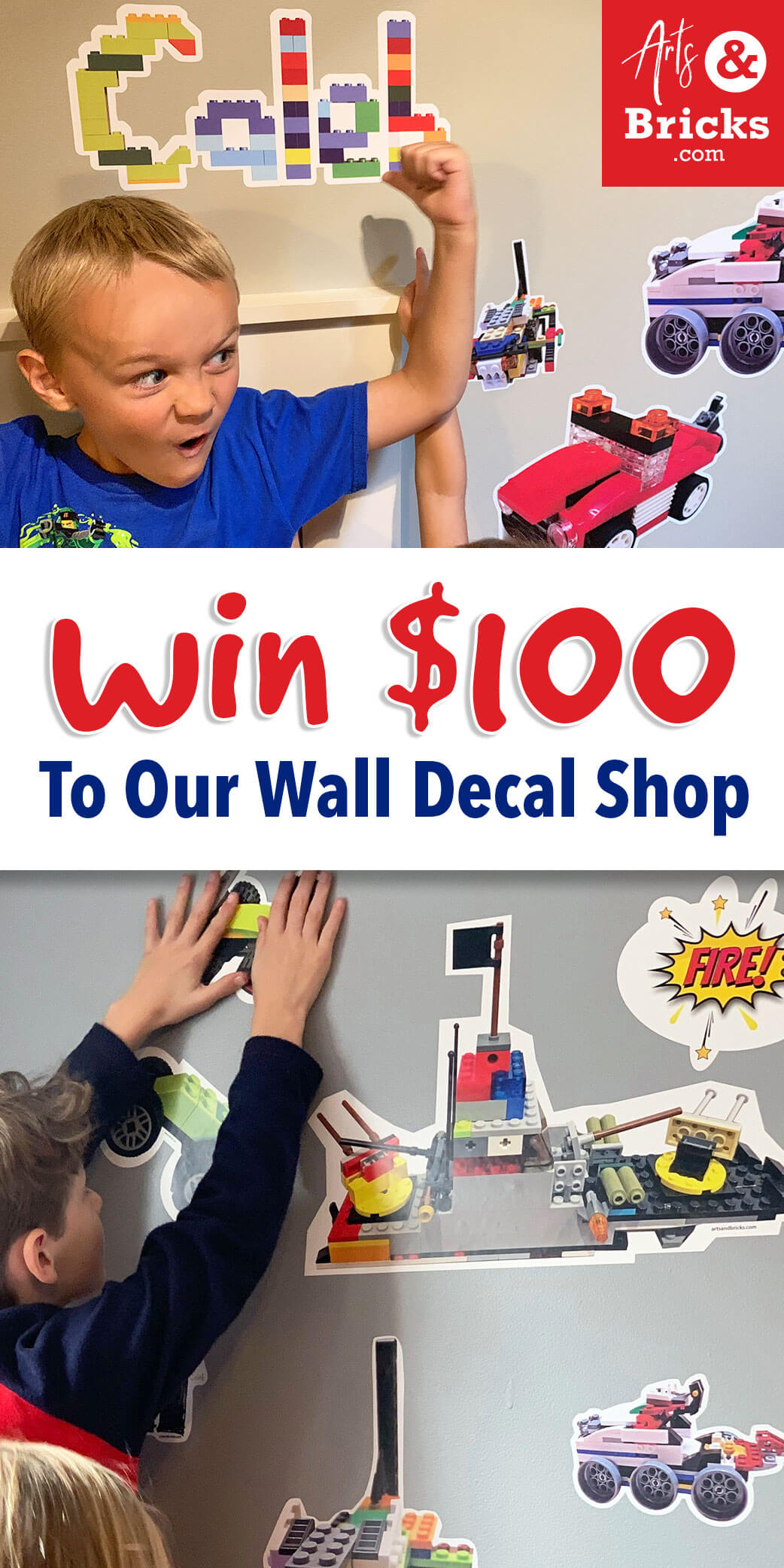 Enter to win $100 to ArtsandBricks.com Wall Decal Shop. Featuring kids's wall vinyl decals and stickers -- even designs your own kids make. Name stickers, subscriptions, pre-made designs and custom designs. #artsandbricks #giveaway #entertowin #walldecor #forkids #legoroom #lego #kiddrawn #brickbuilt #wallstickers