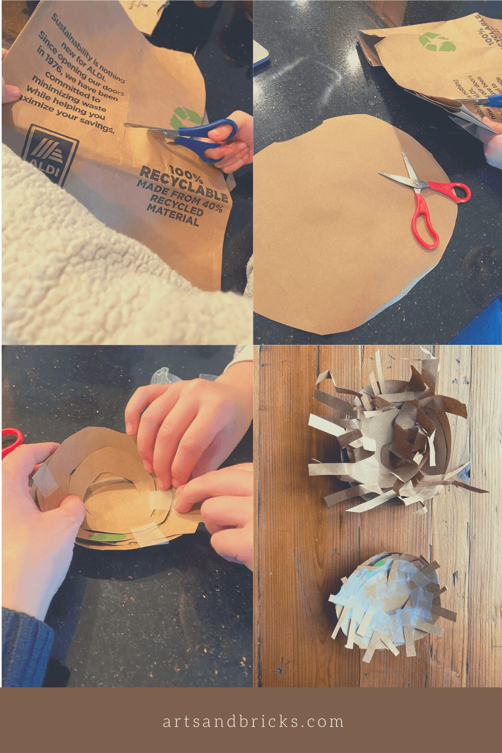 Directions on how to make a nest from a paper bag