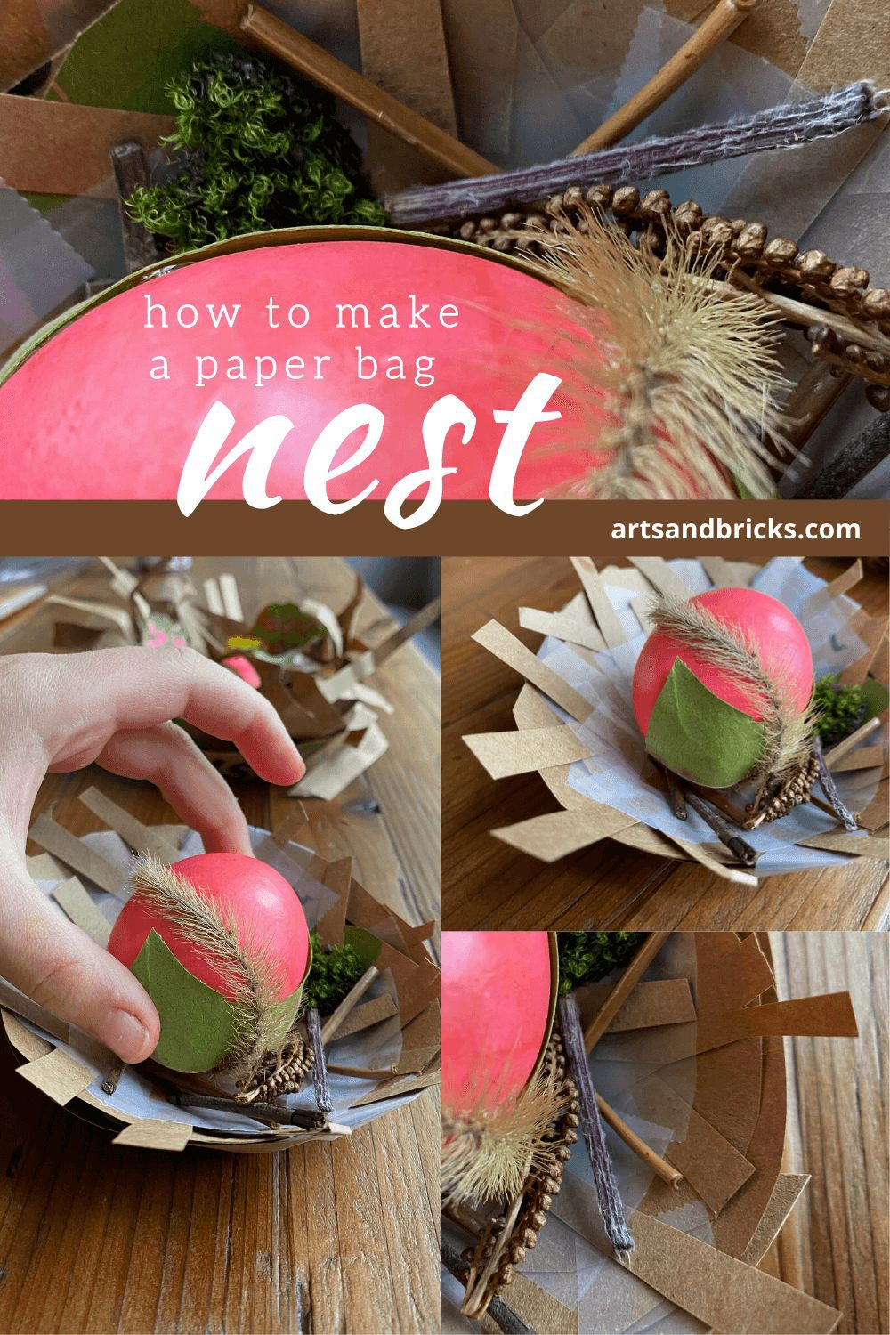 How to make a paper bag nest by Arts and Bricks