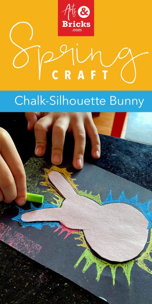 Spring Craft - Chalk Silhouette Bunny for kids.