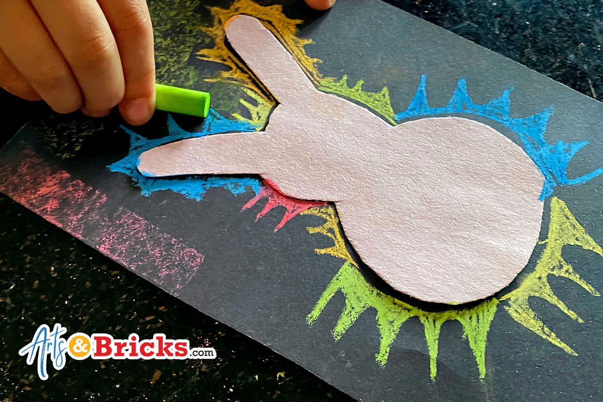 Make spring bunny art silhouettes with chalk