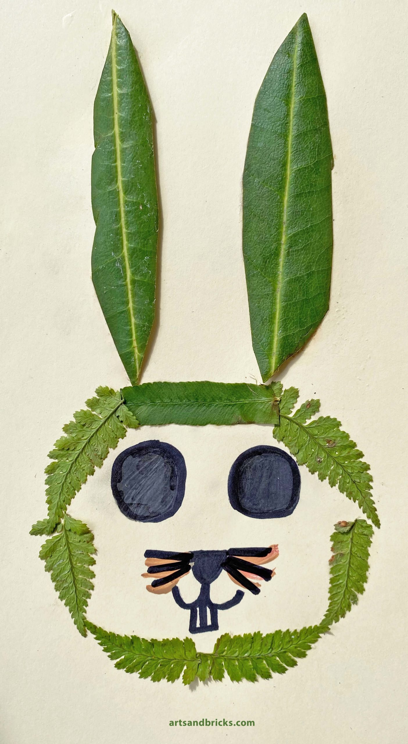 Easter Bunny Collage made from ferns and Rhododendron leaves.