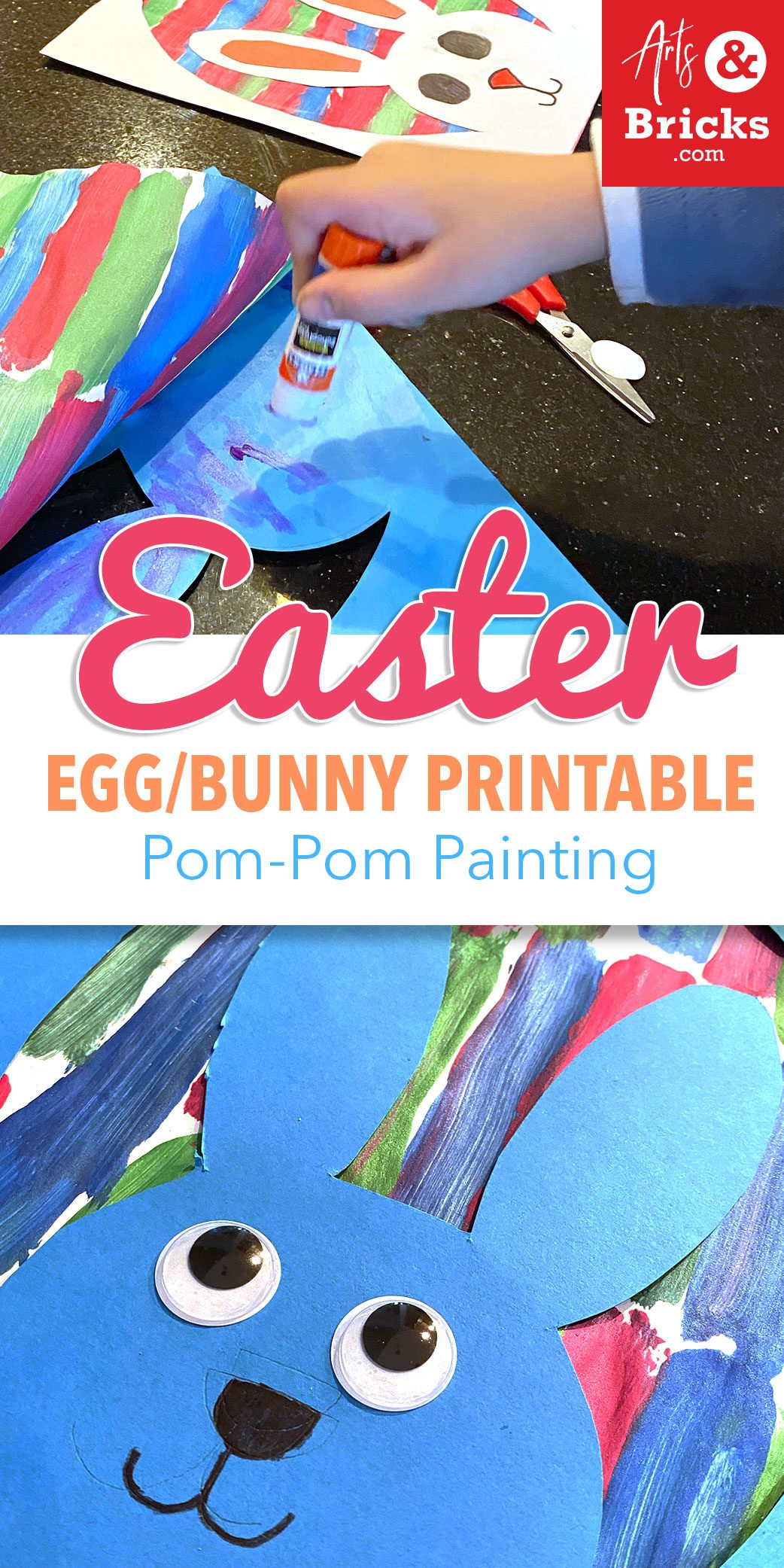 Easter Egg/Bunny Printable with Pom-Pom Painting