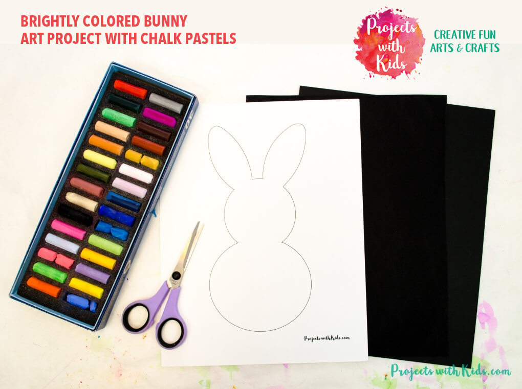 Brightly Colored Bunny Art Project with Chalk Pastels