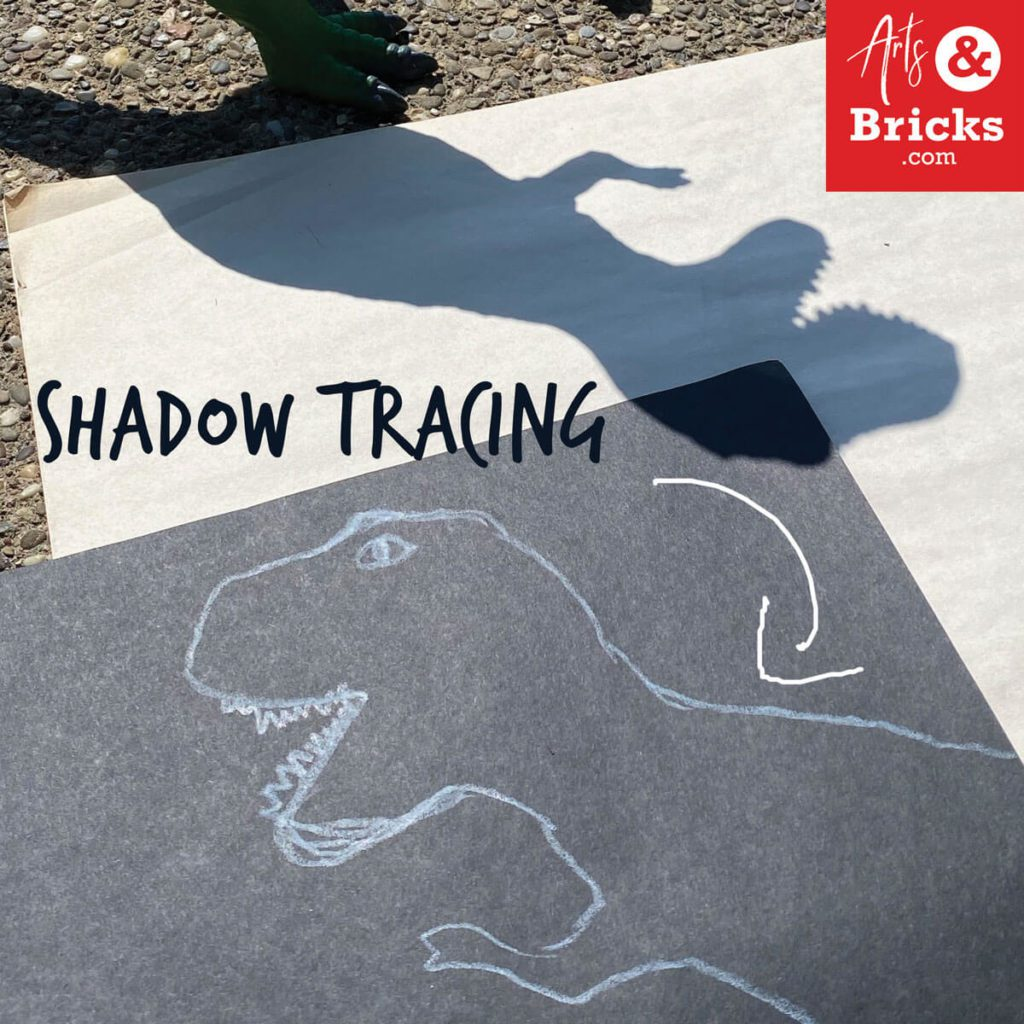 Make artwork by tracing your toys outside - shadow tracing. Like this dinosaur.