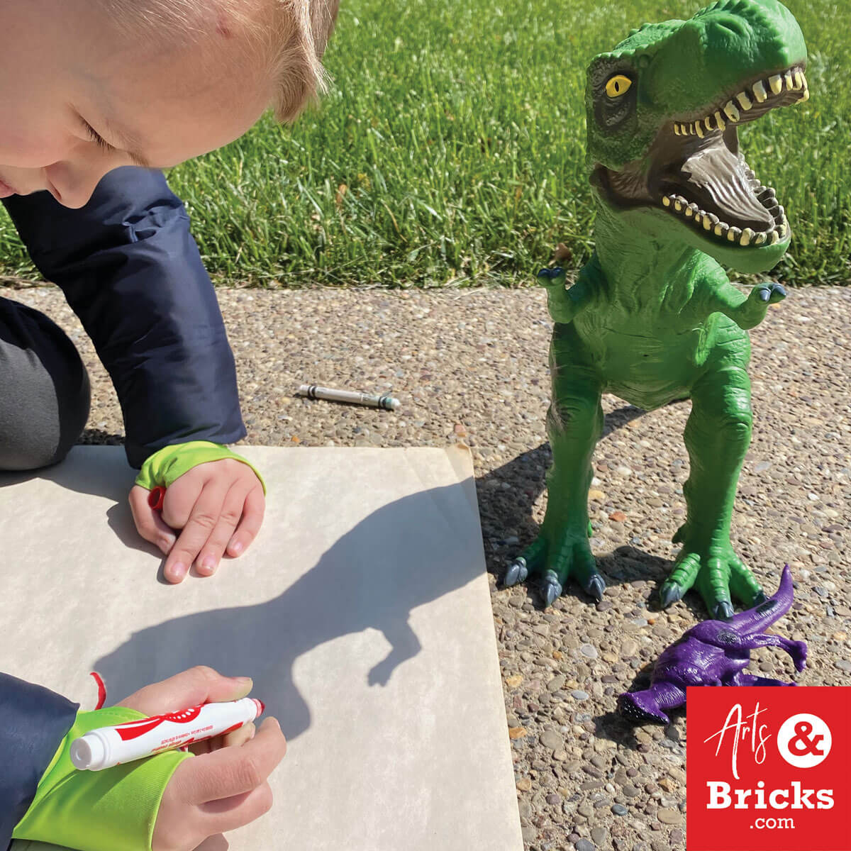 Trace your toys, like a dinosaur, in the afternoon sun. Simple get outside art craft for kids.