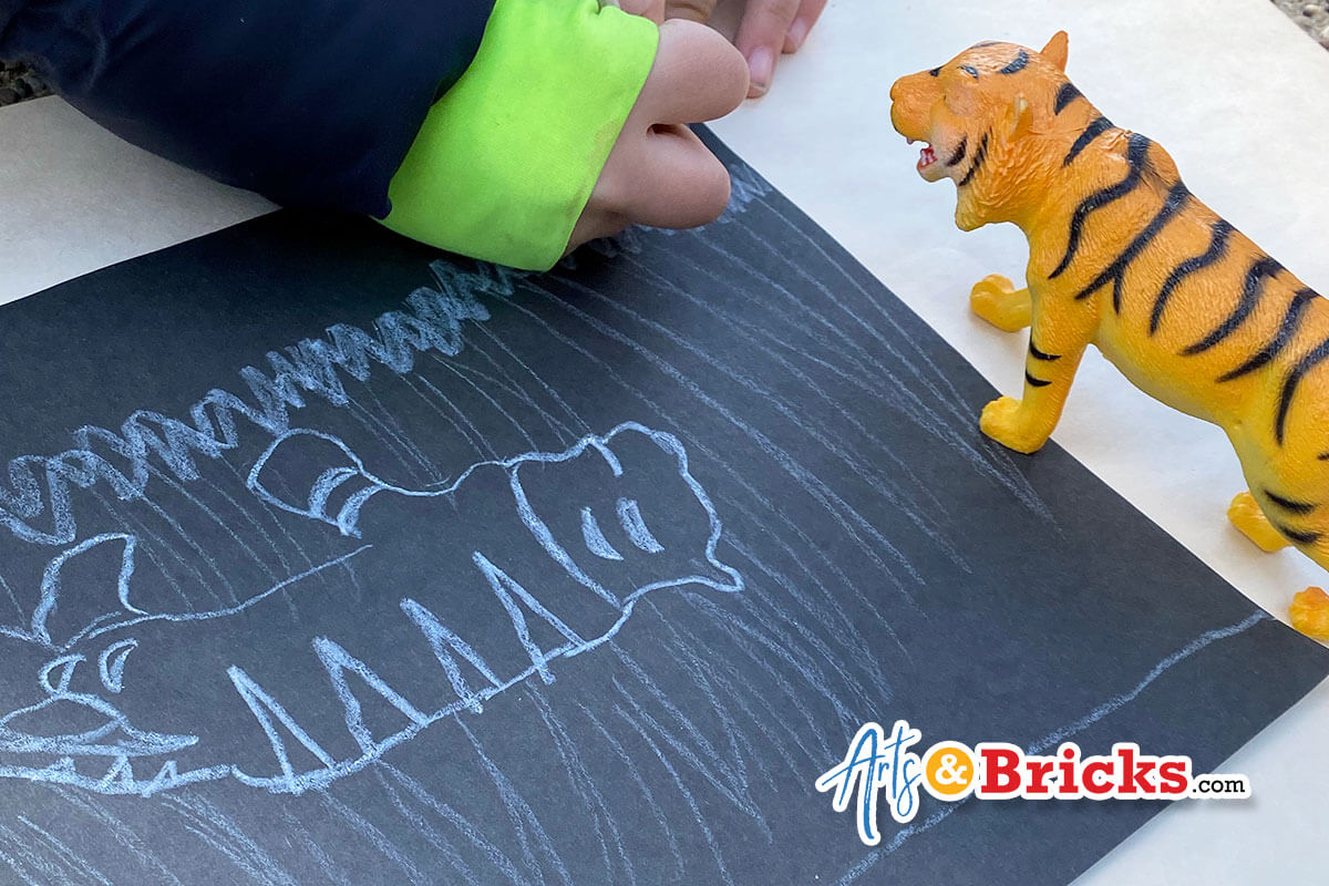 Trace toy's shadows, easy outdoor kids activity; just two supplies needed: crayon and paper