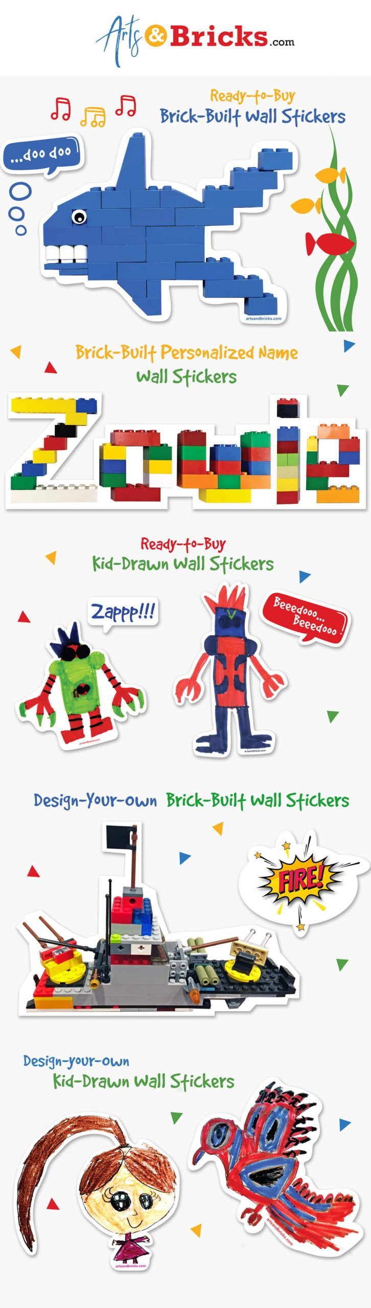 Gifts for LEGO loving children: turn their brick-built creations into wall decals.