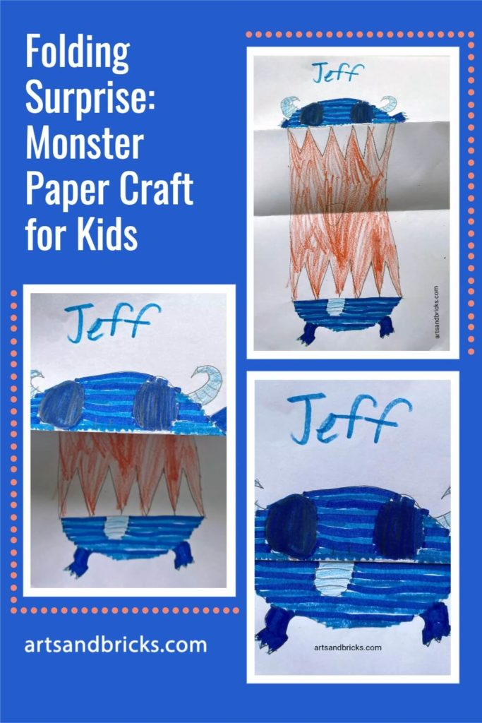 Folding Surprise: Monster Paper Craft for Kids  Learn how to draw a surprise big-mouthed monster. This is a simple activity that requires just a sheet of paper, writing or coloring utensil, and a bit of imagination!