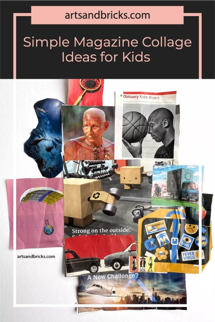 Instead of throwing away old magazines, save their brightly printed pages for use in magazine collage artwork that you can make with your kids!