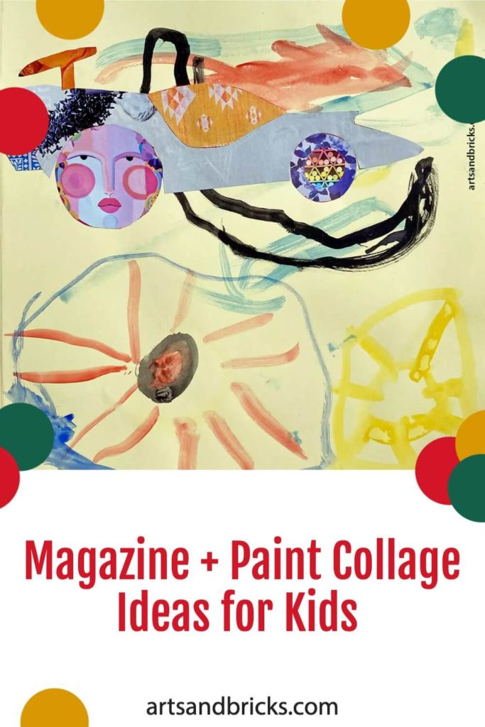 Instead of throwing away old magazines, save their brightly printed pages for use in magazine collage artwork that you can make with your kids! Add paint and abstract marks to create truly amazing artwork!