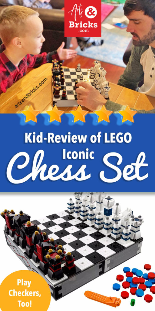 Is there a LEGO chess set? Absolutely. There are several options for purchasing LEGO chess sets. We're in love with the LEGO Iconic Chess Set 40174. In fact, it's by far our most used LEGO set. Read our full kid-review to see why!