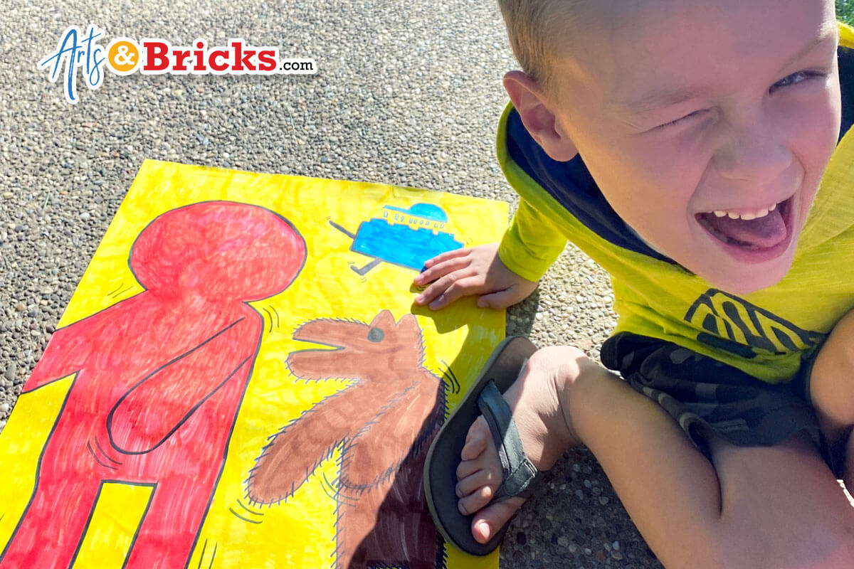 Blog post about how to make a Keith Haring inspired art project for elementary aged children.