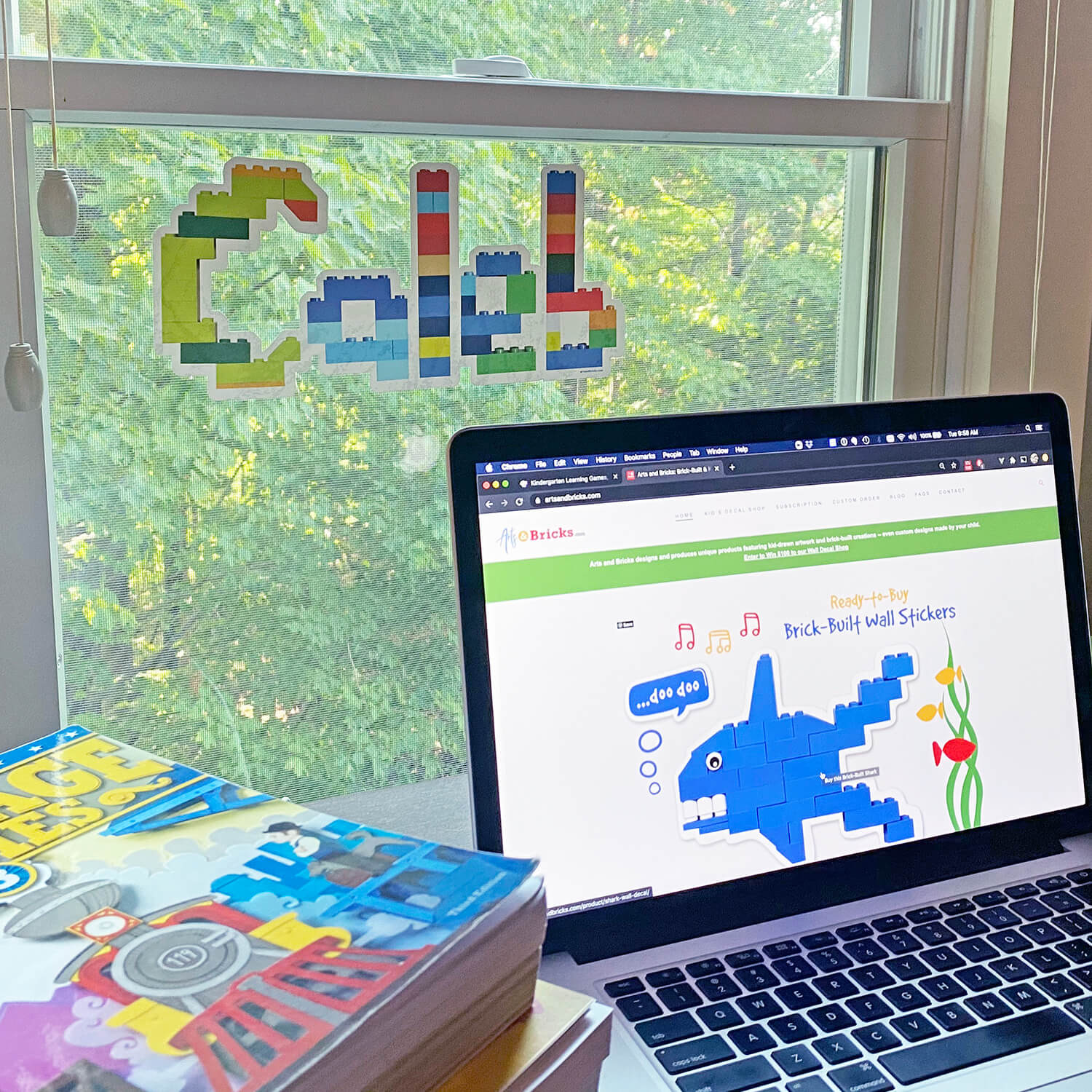 Window cling Name Sticker built from Lego bricks for virtual learning space