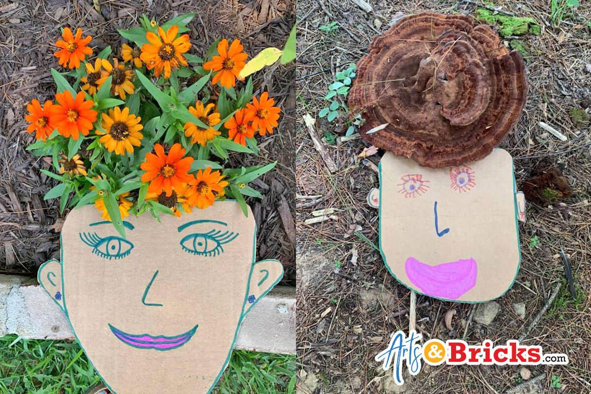 Cardboard Faces with Nature Hair