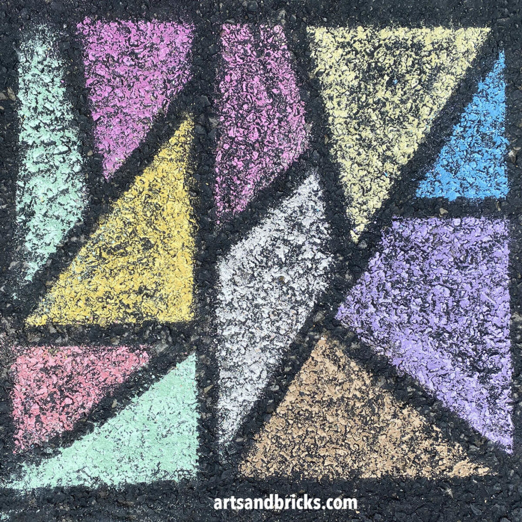 Make your own sidewalk chalk mosaics using just two materials: tape and sidewalk chalk.