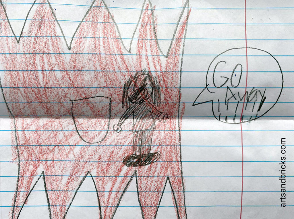 Get creative drawing the SCARY version of your foldable monster. This one has a little person in there! Oh my!