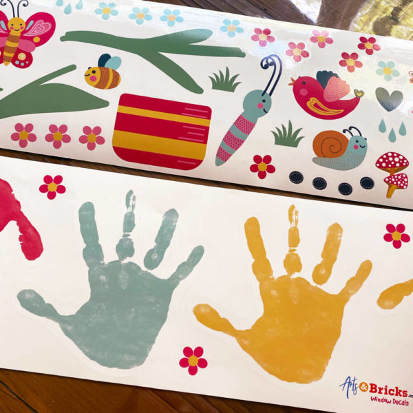 Colorful Handprints for window play.