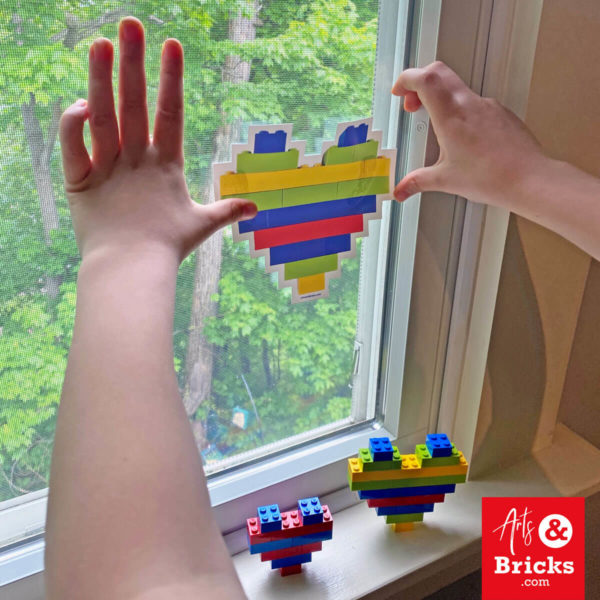 Decorate your windows with lego-themed hearts
