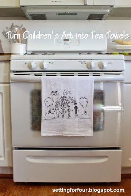 Displaying your child's artwork in the kitchen is an honored space that will delight any creative child. Heather's simple DIY idea for Turning Your Child's Artwork into a Tea Towel is simple and delightful! Take a look at this and MANY other ways to repurpose and display your child's artwork.
