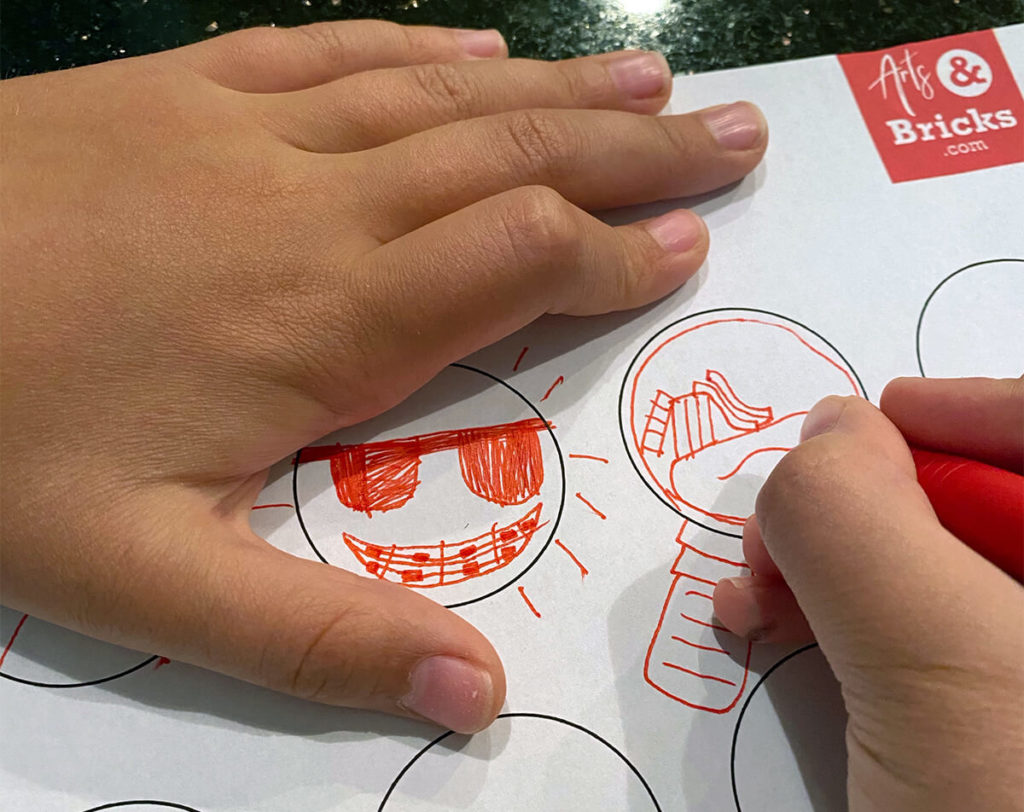 Perfect as a quick time filler or rainy day afternoon activity, the premise for circle drawing is simple: think creatively and draw something that is the shape of a circle.  Example of Summer Inspired Circle Drawing Activity for Kids