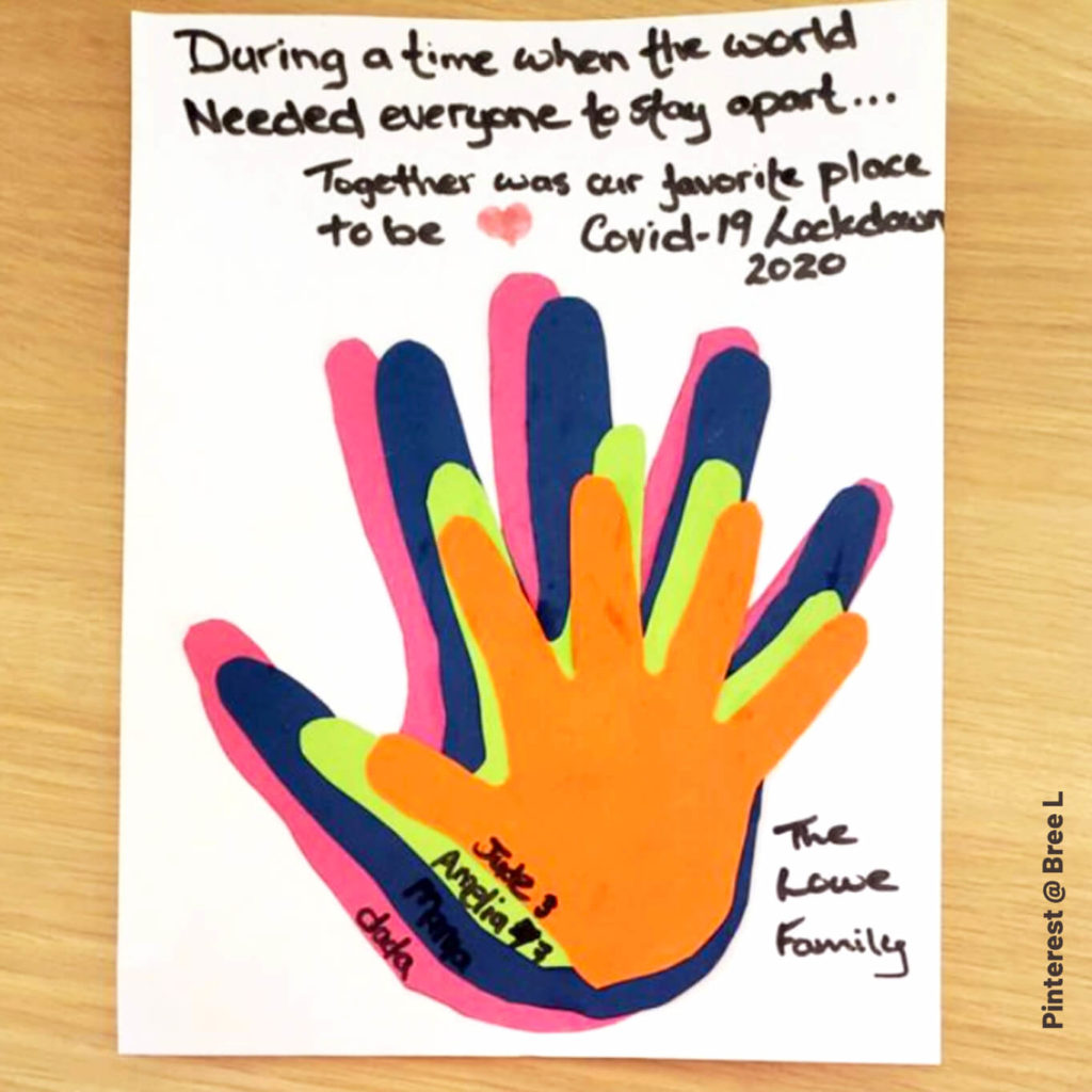 During a time when the world needed everyone to stay apart...Together was our favorite place to be. Covid-19 Lockdown 2020. Framable family handprint craft. #inspiration #pinterest
