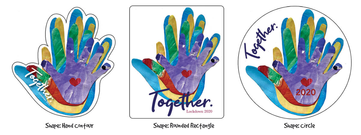 Example shapes for family handprint window cling