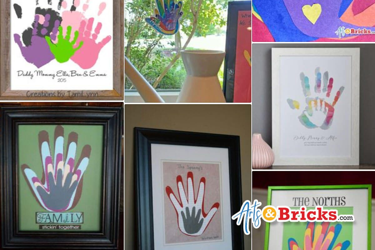 Framed Family Handprint Inspiration from Pinterest