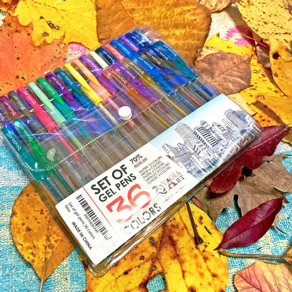 Create exquisitely patterned and decorated fall leaves by doodling with gel pens. We love this set of 36 colors that we purchased off of Amazon. Coloring leaves provides hours of relaxing, creative fun! No setup required - just leaves, gel pens and perhaps some great music!!! This is an autumn craft that both you and your kids will love! #fall #leaves #kidscraft #autumn #halloween #crafts #artsandcrafts