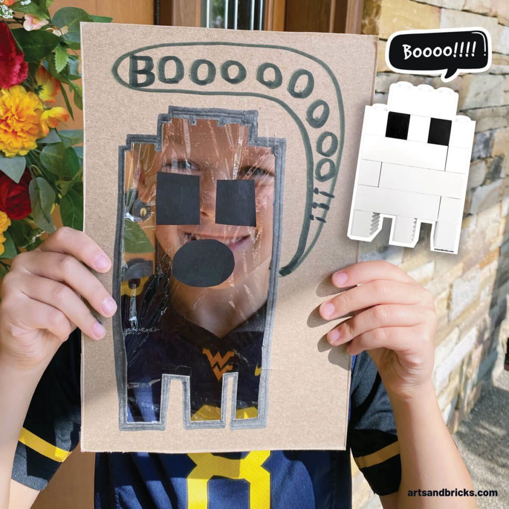 Explore your surroundings with this Ghost Peek-A-Boo Cardboard Craft! Use cardboard (we used a cereal box panel) to create a ghost. Ours is a LEGO brick ghost!!! Add plastic wrap over the body and tape on a spooky face. Don't forget to add a BOO! Next is the fun part, start framing textures and colors - both indoors and outdoors. Don't forget to take pictures! Have fun! #lego #craft #google #cardboard #forkids #easy #recycled #naturecrafts