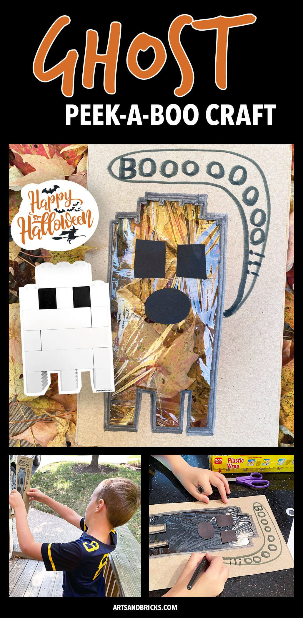 Our Ghost Peek-A-Boo Cardboard Craft was especially created for a LEGO lovin' eight-year-old. We recycled our cereal boxes for the cardboard and used construction paper and plastic wrap. Our ghost is a Lego brick ghost! This craft encourages kids to explore nature and the vast amount of colors and textures that surround them. Bonus for older kids: it starts to teach how to frame a composition. #ghost #craft #forkids #autumn #halloween #lego