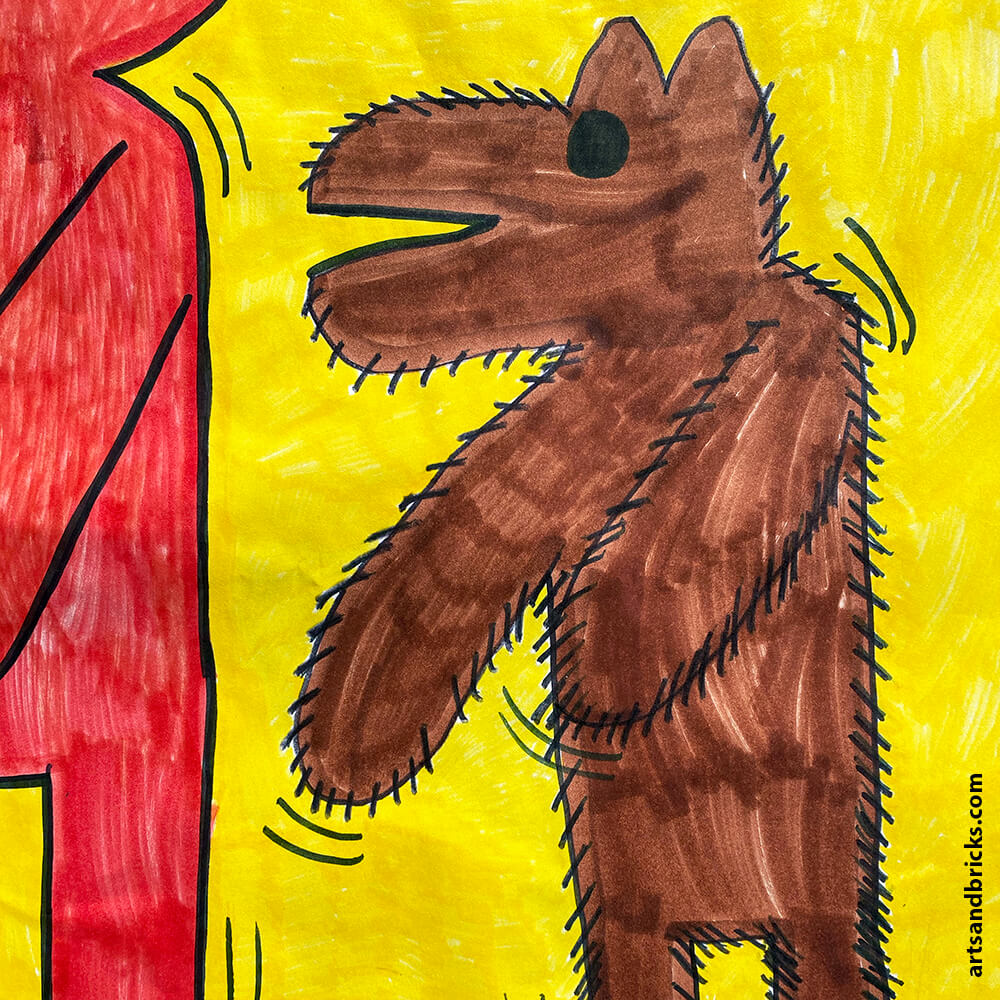 Get inspiration for a Keith Haring-inspired Kids Art Project. Learn what characteristics make Keith's work unique -- like motion lines, bright solid colors and cartoon styled faceless people. Our final artwork includes our very own The Hairy Dog, The Dancing Boy and The Blue Lego Brick.